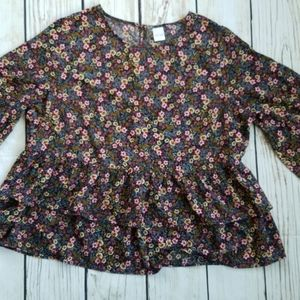 Time & Tru Floral Ruffle Bell Sleeve Keyhole Top